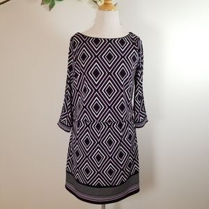 WHBM Blouson Geometric Purple Print Dress - S